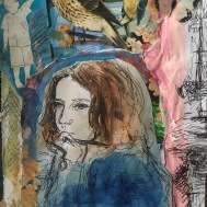 Girl with bird and butterfly - Mixed Media - 2019.