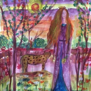 Woman and Leopard - Acrylic on paper - 2019.