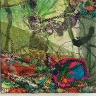 Textile embroidery abstract painting